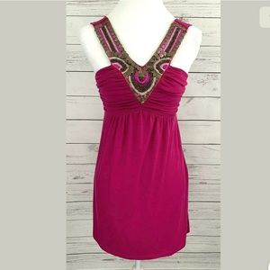 Charlotte Russe Dress Pink V-Neck Sleeveless Bead